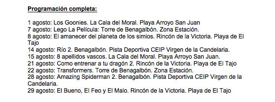 El ciclo Cine de Verano se proyectará en los cuatro núcleos de población de Rincón con películas de estreno